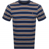 Farah Vintage Morgan Stripe T Shirt Navy